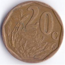 20 центов 1996 ЮАР - 20 cents 1996 South Africa (Borwa)