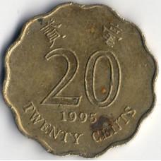 Монета 20 центов 1995 Гонконг - 20 cents 1995 Hong Kong