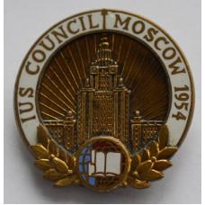 Значок IUS COUNCIL MOSCOW 1954 - заседание Международного союза студентов в Москве, 1954 г.