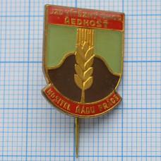 Значок - JZD vitezny unor Redhost. NOSITEL RADU PRACE. Сельскохозяйственный кооператив. Победный февраль. Чехословакия