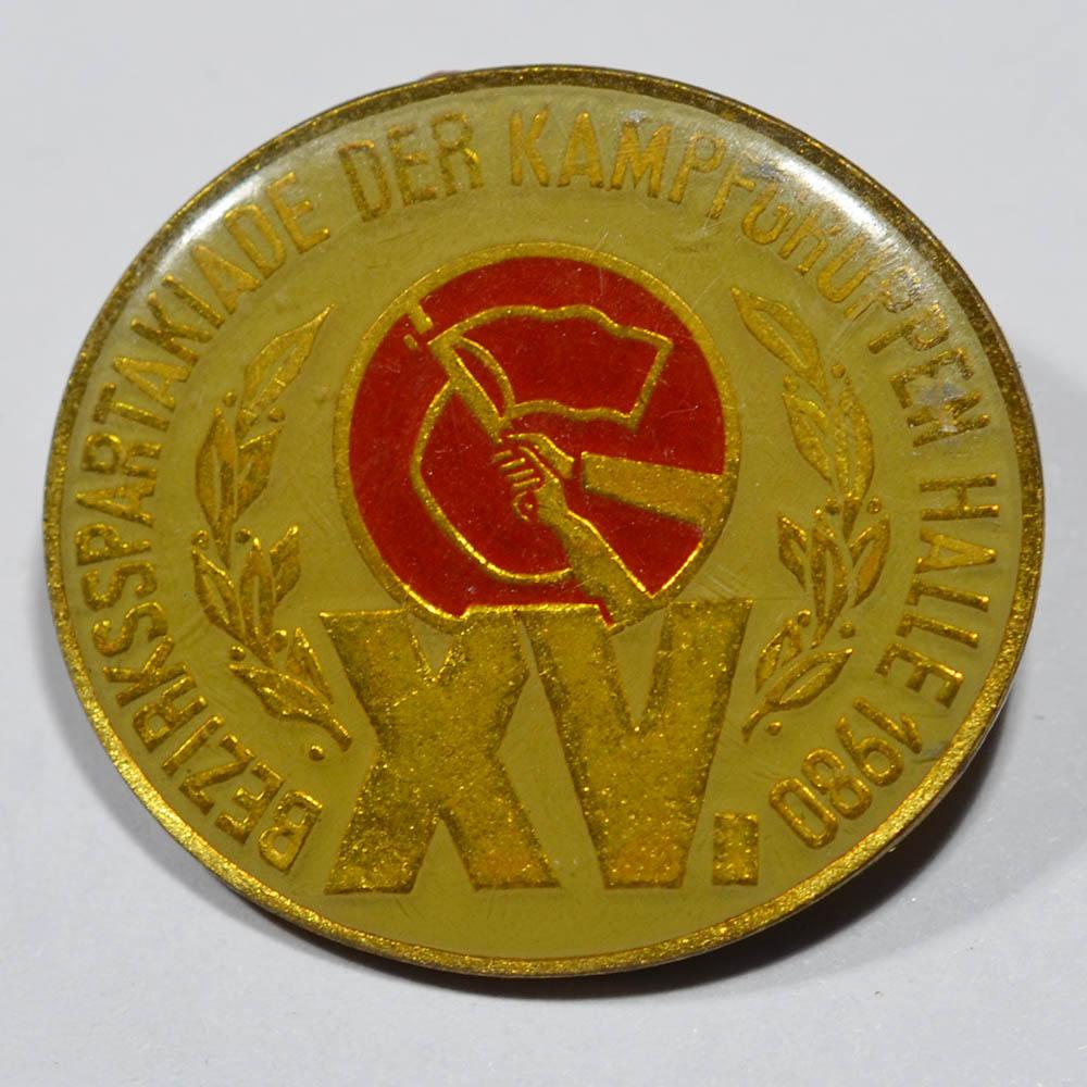 Значок XV Bezirks spartakiade der KAMPFGRUPPEN halle 1980, ГДР
