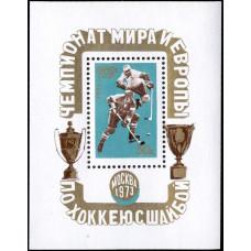 1973, март-апрель. Чемпионат мира и Европы по хоккею с шайбой. Момент игры