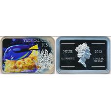 Ниуэ 1 доллар 2013. «Голубой хирург» серия «Тропические коралловые рыбы»