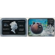 Ниуэ 1 доллар 2013. «Белоточечный аротрон» серия «Тропические коралловые рыбы»