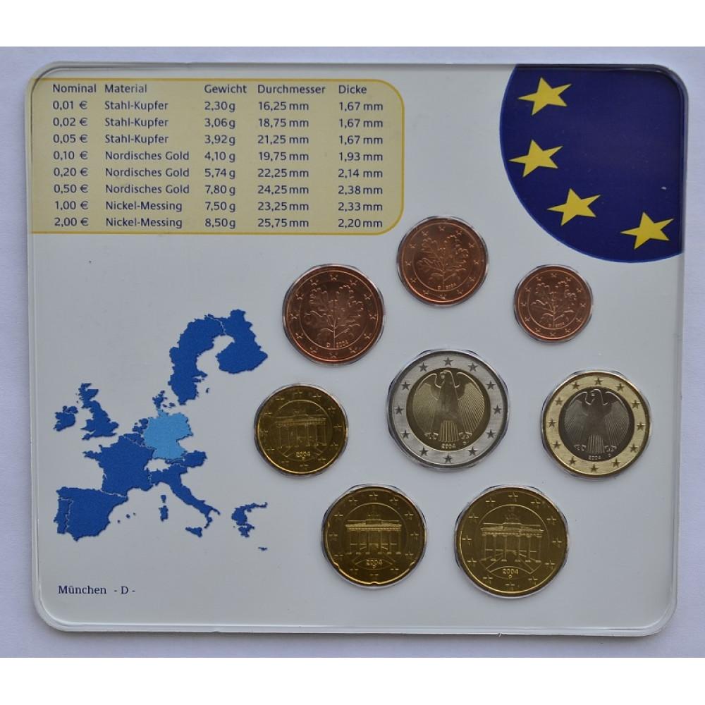 Германия 2004 D Официальный годовой набор Евро монет
