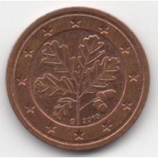 2 евроцента 2010 года Германия - 2 euro cents 2010 Germany, G, из оборота