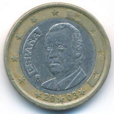 1 евро 2003 года Испания - 1 euro 2003 Spain, из оборота