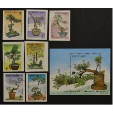 1986. Набор марок Вьетнама. Деревья бонсай. Bonsai Trees.