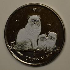 1 крона 2005 Остров Мэн. Кошки - Гималайская кошка. Цветная эмаль.