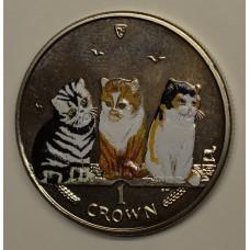 1 крона 2006 Остров Мэн. Кошки - Экзотическая кошка. Цветная эмаль.