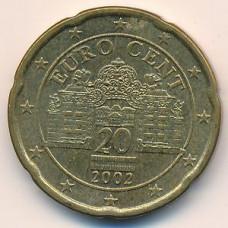 20 евроцентов 2002 года Австрия - 20 euro cent 2002 Austria, из оборота