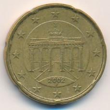 20 евроцентов 2002 года Германия - 20 euro cent 2002 Germany, J, из оборота