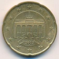 20 евроцентов 2002 года Германия - 20 euro cents 2002 Germany, A, из оборота