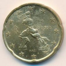 20 евроцентов 2002 года Италия - 20 euro cents 2002 Italy, из оборота