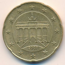 20 евроцентов 2007 Германия - 20 euro cent 2007 Germany, J, из оборота