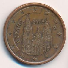 5 евроцентов 2005 года Испания - 5 euro cent 2005 Spain, из оборота