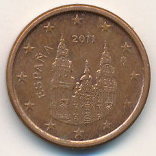 1 евроцент 2011 года Испания - 1 euro cent 2011 Spain, из оборота