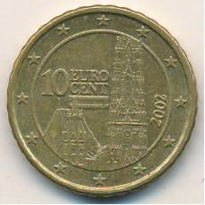 10 евроцентов 2002 года Австрия - 10 euro cents 2002 Austria, из оборота