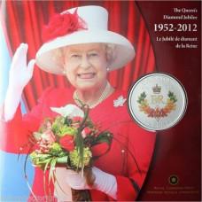 """50 центов Канада 2012 год """"Бриллиантовый юбилей королевы"""". Серебро. В буклете"""