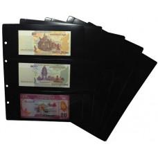 "Двухсторонний лист для хранения банкнот на 6 ячеек. Стандарт ""OPTIMA"". Размер 200Х250 мм."