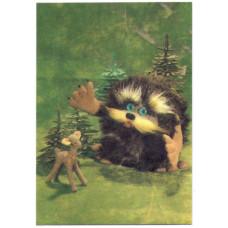 Календарик карманный - 1991. Игрушки, лесовик и олененок
