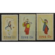 1960, февраль. Набор почтовых марок Северной Кореи (КНДР). Корейские национальные танцы