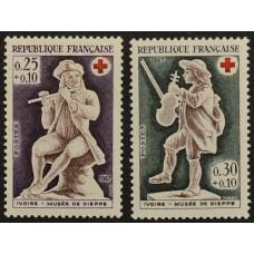 1967, декабрь. Набор почтовых марок Франции. Красный Крест