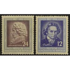 1952, март. Набор почтовых марок Германии (ГДР). 125 лет со дня смерти Бетховена
