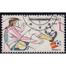 1982, январь. Почтовая марка Чехословакии. Чемпионат мира по футболу - Испания. 1 крона