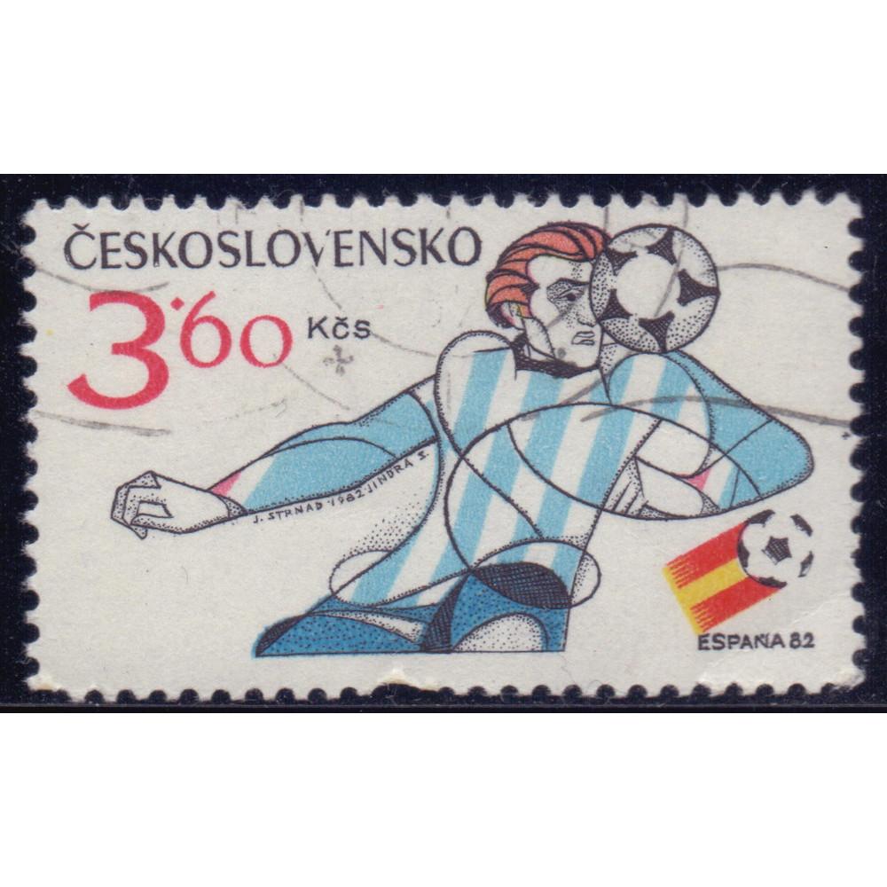 1982, январь. Почтовая марка Чехословакии. Чемпионат мира по футболу - Испания. 3.60 крона