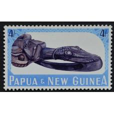 1965, март. Почтовая марка Папуа-Новой Гвинеи.  Сепик Каноэ Про в музее Порт-Морсси. 4 шиллинга