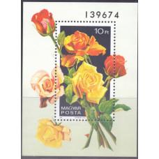 1982, апрель. Сувенирный лист Венгрии. Розы