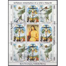 1983, май. Марочный лист Сан-Томе и Принсипи. Картины Рафаэля. Пасха
