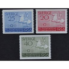 1956, апрель. Набор почтовых марок Швеции. Конная олимпиада