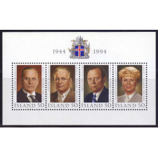 1994 Июнь Исландия 50 лет Республике - Президенты Исландии 50 крон
