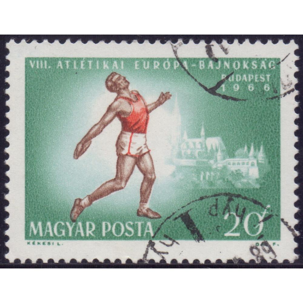 1966, август. Почтовая марка Венгрии. Чемпионат Европы по легкой атлетике, Будапешт. 20 филлер