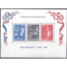 """1989, июль. Сувенирный лист Монако. Международная выставка марок """"PHILEX FRANCE '89"""" - Париж, Франция"""