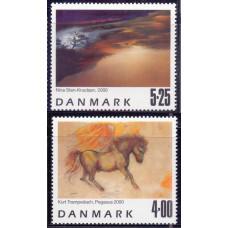 2000, сентябрь. Набор марок Дании. Paintings