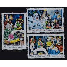 1969, декабрь. Набор почтовых марок Бразилии. Карнавал в Рио