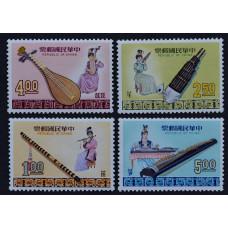 1969, март. Набор почтовых марок Тайваня. Китайские музыкальные инструменты