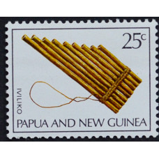 1969, октябрь. Почтовая марка Папуа-Новой Гвинеи. Музыкальные инструменты. 25 центов