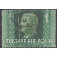 1941, июнь. Почтовая марка Венгрии. Миклош Хорти. 1 пенгё