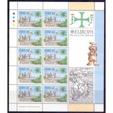 1992 Май Марочный Лист Ирландии EUROPA Voyages of Discovery in America 44 Eire
