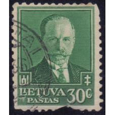 1934, июль. Почтовая марка Литвы. 60-летие со дня рождения Антанаса Сметона. 30 с.