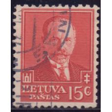 1934, июль. Почтовая марка Литвы. 60-летие со дня рождения Антанаса Сметона. 15 с.