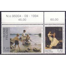 1995 Март Финляндия Pro Filatelia - Картины Альберта Эдельфельта 2.40+0.60