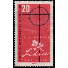1962, июнь. Почтовая марка Германии (ГДР). 20 лет уничтожения Лидице. 20 пфенинг