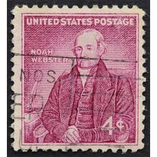 1958 Октябрь США 200 лет со Дня Рождения Ноя Вебстера 4 цента