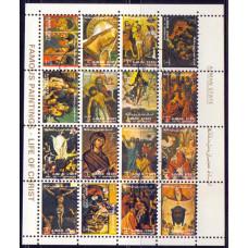1972, март. Марочный лист Аджман (ОАЭ). Religious Paintings