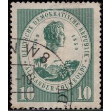1959, май. Почтовая марка Германии (ГДР). 100 лет со дня смерти Александра фон Гумбольдта. 10 пф.